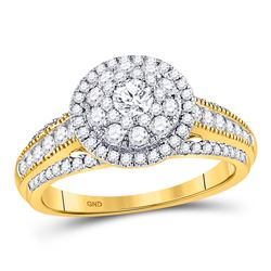 Round Diamond Solitaire Bridal Wedding Engagement Ring 1 Cttw 14kt Yellow Gold - REF-93N9F