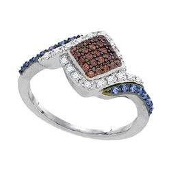 Womens Round Brown Diamond Blue Fashion Ring 1/3 Cttw 10kt White Gold - REF-19W5K