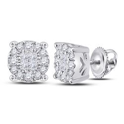 Womens Princess Diamond Fashion Cluster Earrings 1/4 Cttw 14kt White Gold - REF-24K5Y