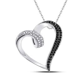 Womens Round Black Color Enhanced Diamond Heart Pendant 1/6 Cttw 10kt White Gold - REF-13K9Y
