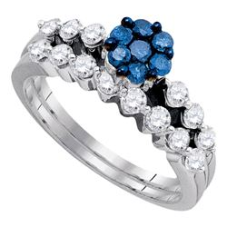 Womens Round Blue Color Enhanced Diamond Bridal Wedding Ring Set 1 Cttw 10kt White Gold - REF-57Y5N
