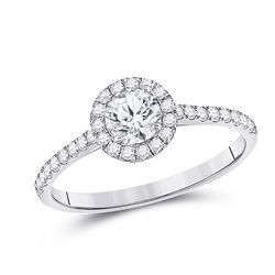 Round Diamond Halo Bridal Wedding Engagement Ring 3/4 Cttw 14kt White Gold - REF-126H9R