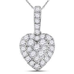 Womens Round Diamond Heart Pendant 1/3 Cttw 14kt White Gold - REF-21X5A
