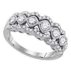 Womens Round Diamond Contoured Fashion Band Ring 3/4 Cttw 14kt White Gold - REF-67R5X