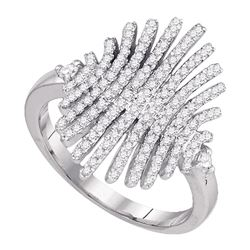 Round Pave-set Diamond Womens Wide Luxury Cocktail Band Ring 1/2 Cttw 10k White Gold - REF-34X5A
