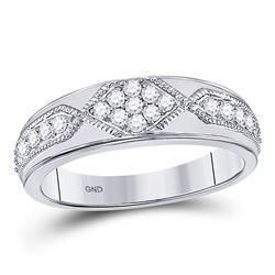 Mens Round Diamond Milgrain Wedding Band Ring 1/2 Cttw 14kt White Gold - REF-49H9R