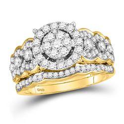 Round Diamond Bridal Wedding Ring Band Set 1 Cttw 14kt Yellow Gold - REF-82H9R