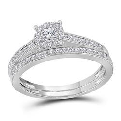Round Diamond Slender Halo Bridal Wedding Ring Band Set 1/2 Cttw 14kt White Gold - REF-49X5A