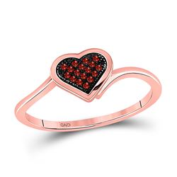 Womens Round Red Color Enhanced Diamond Heart Cluster Ring 1/20 Cttw 10kt Rose Gold - REF-11X9A