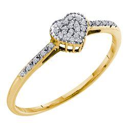 Womens Round Diamond Slender Heart Ring 1/20 Cttw 10kt Yellow Gold - REF-8K5Y