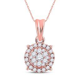 Womens Round Diamond Halo Cluster Pendant 1/4 Cttw 14kt Rose Gold - REF-21H5R