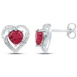 Womens Round Lab-Created Ruby Diamond Heart Earrings 3/8 Cttw 10kt White Gold - REF-13X9A