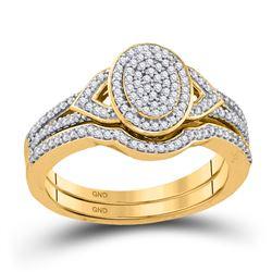 Round Diamond Bridal Wedding Ring Band Set 1/3 Cttw 10kt Yellow Gold - REF-27H9R