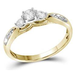 Round Diamond 3-stone Bridal Wedding Engagement Ring 3/8 Cttw 10kt Yellow Gold - REF-34Y5N