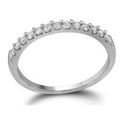 Womens Round Diamond Slender Wedding Anniversary Band 1/4 Cttw 14kt White Gold - REF-20N9F