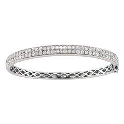 Womens Round Diamond Classic Double Row Bangle Bracelet 2 Cttw 14kt White Gold - REF-181M9H
