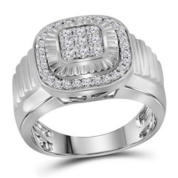 Mens Round Diamond Square Ribbed Cluster Ring 3/4 Cttw 10kt White Gold - REF-64M5H
