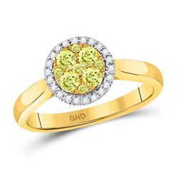 Womens Round Canary Yellow Diamond Circle Cluster Ring 1/2 Cttw 14kt Yellow Gold - REF-54A5M