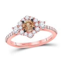 Round Brown Diamond Solitaire Bridal Wedding Engagement Ring 1 Cttw 14kt Rose Gold - REF-82Y9N