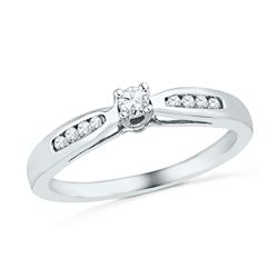 Womens Round Diamond Solitaire Promise Ring 1/5 Cttw 10kt White Gold - REF-19R9X
