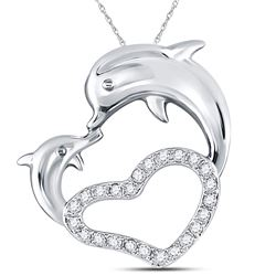 Womens Round Diamond Double Dolphin Heart Pendant 1/6 Cttw 14kt White Gold - REF-13F9W