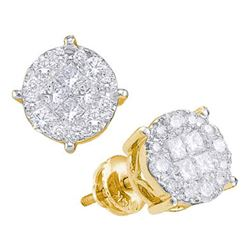 Womens Princess Round Diamond Cluster Earrings 1-1/2 Cttw 14kt Yellow Gold - REF-115F9W