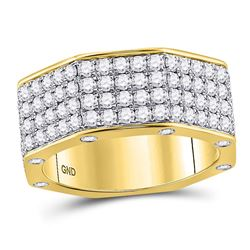 Mens Round Diamond Octagon Nut Band Ring 2-3/4 Cttw 14kt Yellow Gold - REF-175R5X