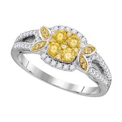 Womens Round Yellow Diamond Square Cluster Ring 3/4 Cttw 14kt White Gold - REF-71A9M