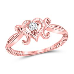 Womens Round Diamond Heart Solitaire Ring 1/10 Cttw 10kt Rose Gold - REF-15X9A