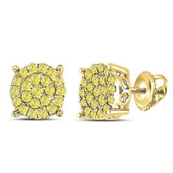 Womens Round Canary Diamond Concentric Cluster Stud Earrings 3/4 Cttw 10kt Yellow Gold - REF-38M9H