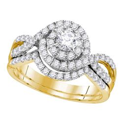 Round Diamond Swirl Bridal Wedding Ring Band Set 1 Cttw 14kt Yellow Gold - REF-79Y5N