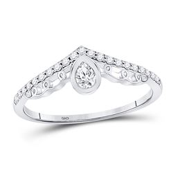 Womens Pear Diamond Fashion Chevron Band Ring 1/3 Cttw 10kt White Gold - REF-29R9X