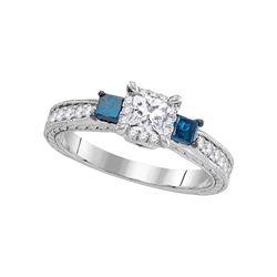 3-stone Blue Color Enhanced Diamond Wedding Bridal Engagement Ring 1 Cttw 14k White Gold - REF-99W9K