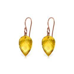 Genuine 19 ctw Citrine Earrings 14KT Rose Gold - REF-28X4M