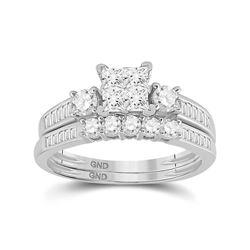 Womens Princess Diamond Bridal Wedding Ring Band Set 1.00 Cttw 10kt White Gold - REF-71R9X