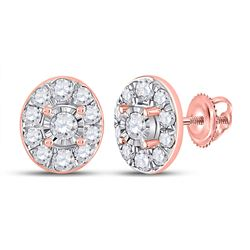 Womens Round Diamond Oval Earrings 1/3 Cttw 10kt Rose Gold - REF-19M5H