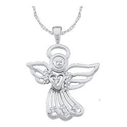 Womens Round Diamond Guardian Angel Pendant 1/10 Cttw 14kt White Gold - REF-10N5F