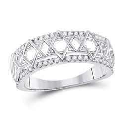 Womens Round Diamond Magen David Star Ring 1/5 Cttw 10kt White Gold - REF-27X9A