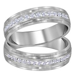 His Hers Round Diamond Band Matching Wedding Band Set 1/3 Cttw 14kt White Gold - REF-52X9A