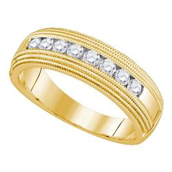 Mens Round Diamond Milgrain Wedding Anniversary Band Ring 1/2 Cttw 14kt Yellow Gold - REF-52X9A