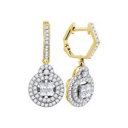 Womens Princess Diamond Double Circle Frame Dangle Earrings 1 Cttw 14kt Yellow Gold - REF-85X9A