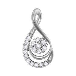 Womens Round Diamond Flower Cluster Teardrop Pendant 1/10 Cttw 10kt White Gold - REF-7W9K