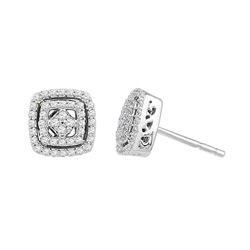 Womens Round Diamond Square Stud Earrings 3/8 Cttw 10kt White Gold - REF-21Y5N