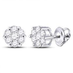 Womens Round Diamond Flower Cluster Earrings 1/4 Cttw 10kt White Gold - REF-15F9W
