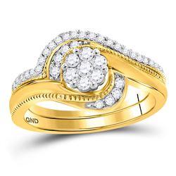 Round Diamond Cluster Bridal Wedding Ring Band Set 3/8 Cttw 14kt Yellow Gold - REF-51H9R