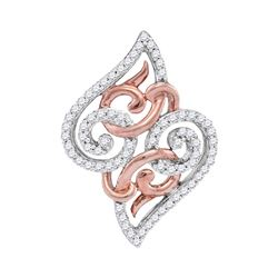 Womens Round Diamond Curl Fashion Pendant 1/5 Cttw 10kt Two-tone Gold - REF-9M5H