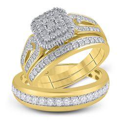 His Hers Round Diamond Matching Wedding Set 1-1/5 Cttw 10kt Yellow Gold - REF-63Y5N
