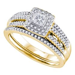 Princess Diamond Bridal Wedding Ring Band Set 1/2 Cttw 14kt Yellow Gold - REF-66H5R