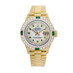Rolex Pre-owned 26mm Womens String White MOP 18K Gold - REF-1140R4M