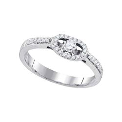 Round Diamond Solitaire Bridal Wedding Engagement Ring 1/4 Cttw 10kt White Gold - REF-25N9F